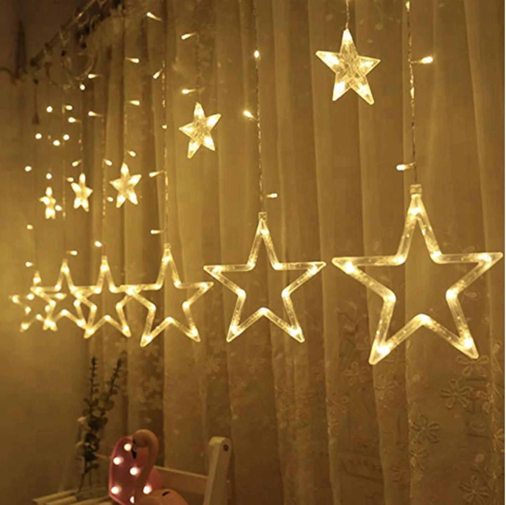 Instalatie craciun perdea luminoasa ploaie de stele alb cald