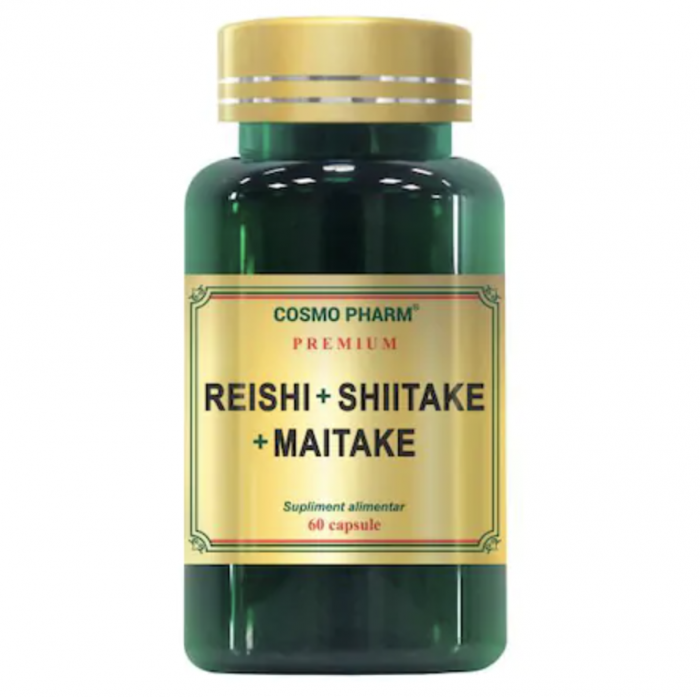 Supliment Alimentar Reishi Shiitake Maitake, 60 Capsule
